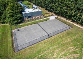 Tennis court at Bond Estate Christchurch